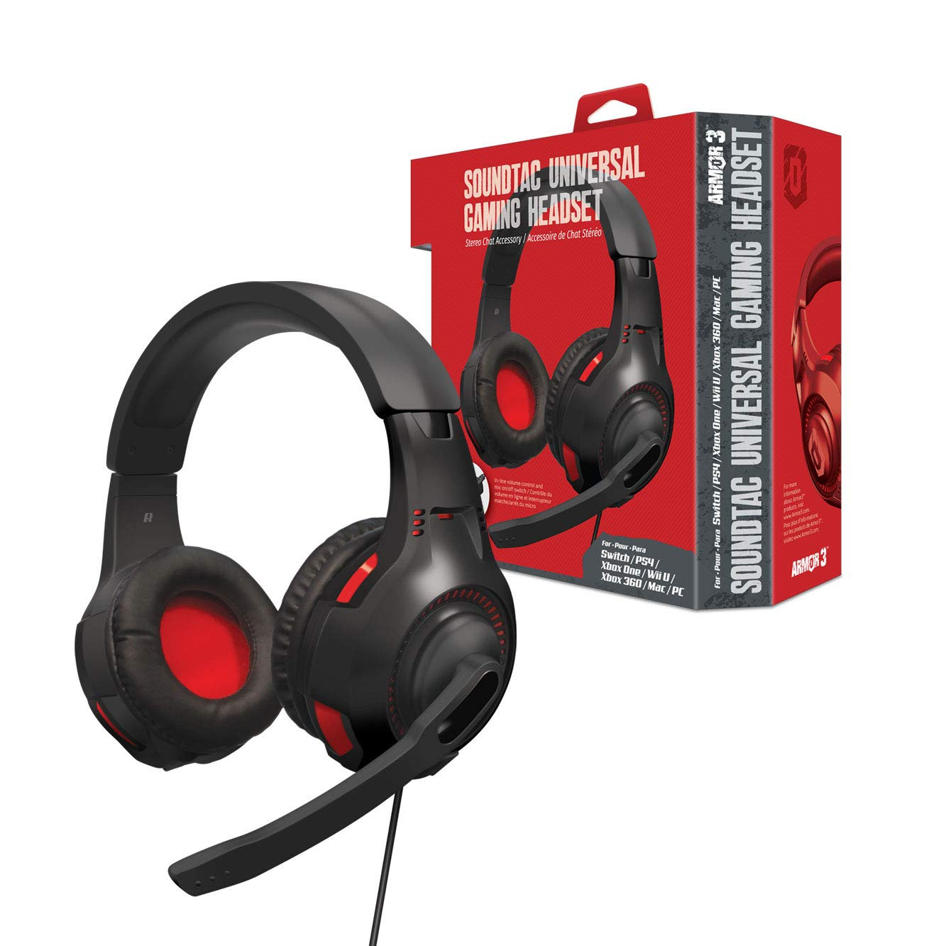 Armor3 ''SoundTac'' Universal Gaming Headset for Switch/ PS4/ Xbox One/ Wii U/ Xbox 360/ PC/ Mac by Armor3