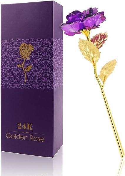 ACELEY Flor de Rosa de Oro de 24 Quilates, Rosa Artificial de lámina de Oro para Siempre, Esposa y Novia, Navidad, día de San Valentín, día de la ...