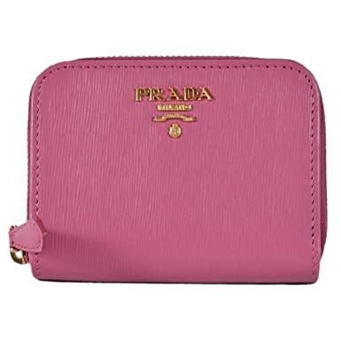 d9380b2fc2b0 Image Unavailable. Image not available for. Color: Prada 1MM268 2EZZ Fuxia  Pink Saffiano Leather Zip Around Coin Purse Wallet