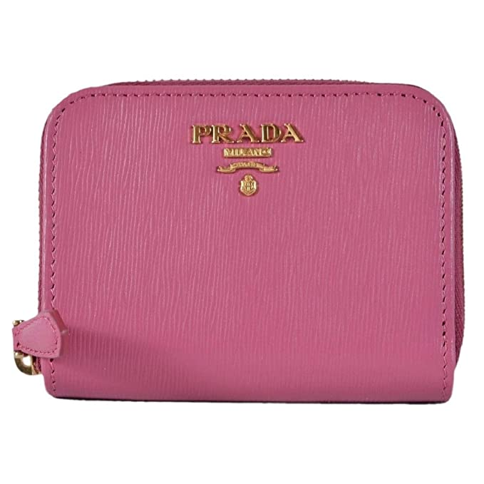 fe4ce3ff050793 Prada 1MM268 2EZZ Fuxia Pink Saffiano Leather Zip Around Coin Purse Wallet:  Amazon.ca: Clothing & Accessories