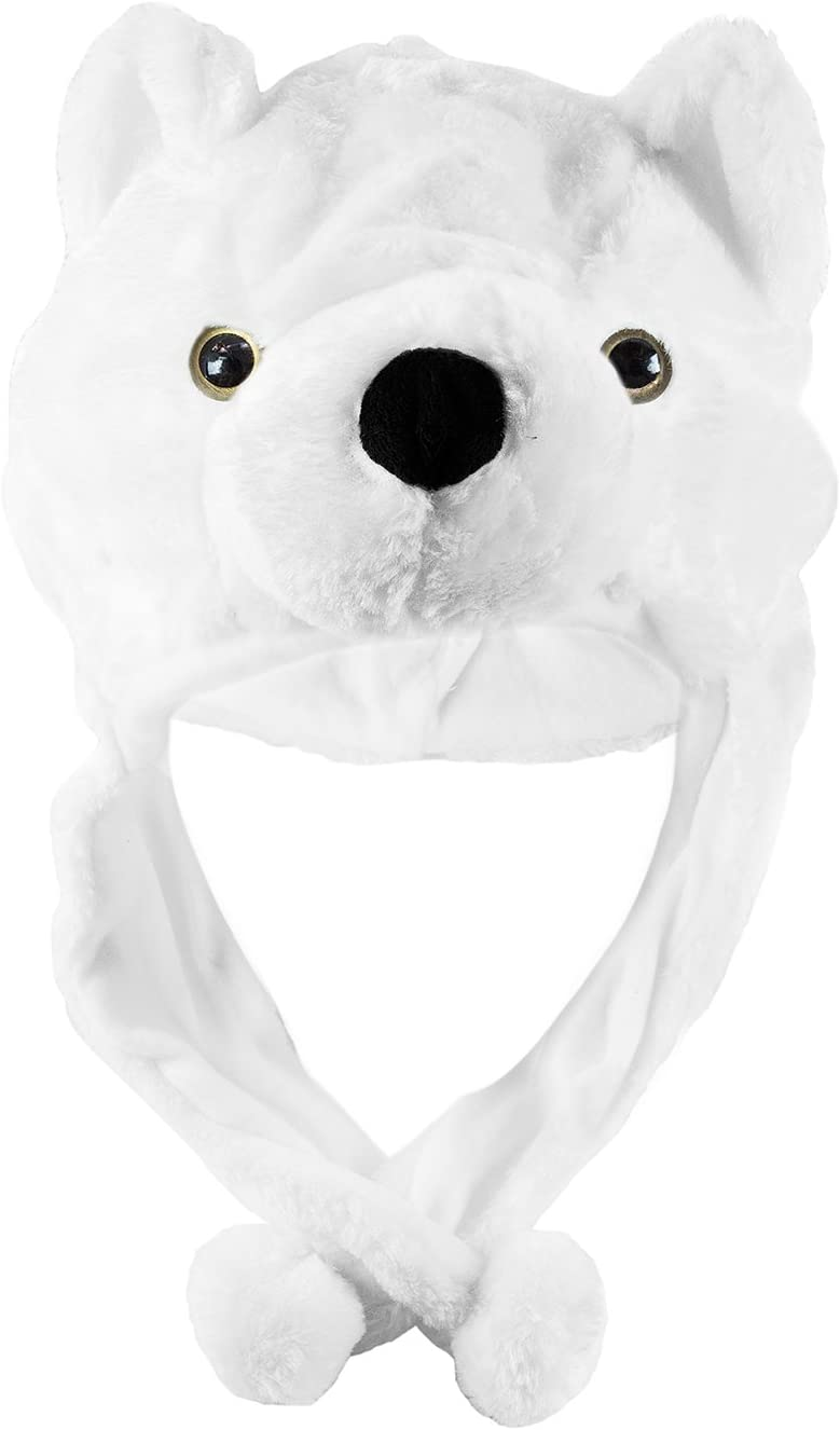 Short Super Z Outlet Polar Bear Cute Plush Animal Winter Ski Hat Aviator Style Winter Fashion