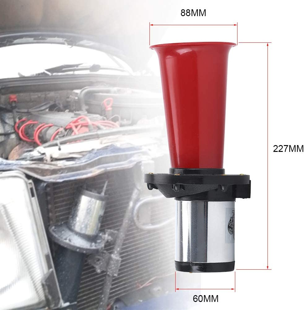 Red PTNHZ Car Air Horn Antique Ahooga Klaxon 12V Vintage OO-GA Classical for Ford Model T Style Old School Chrome 110DB Motorbike