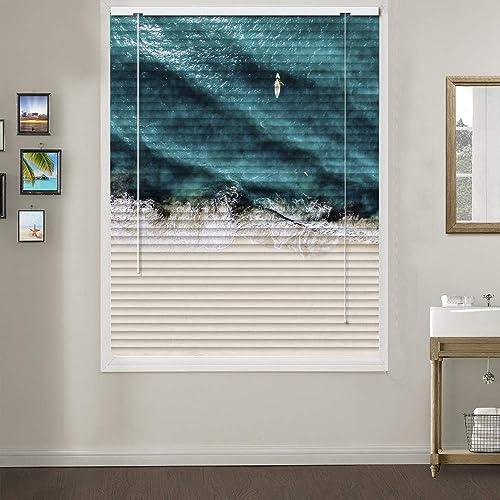 Patterned Aluminium Mini Window Blinds, Premium 1-inch Light Filtering Horizontal Custom Blinds, 70 W x 96 L