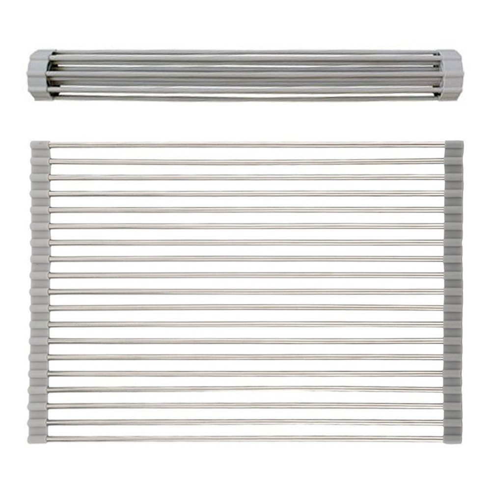 VAPSINT Modern Brushed Nickel Stainless Kitchen Sink Roll Up Dish Drying Rack, Easily Store Warm Grey Color Fit kitchen Sink