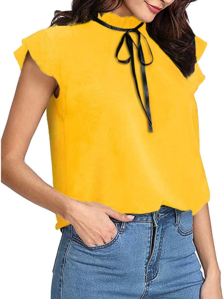 Lotus.Flower Womens Casual Cap Sleeve Bow Tie T-Shirt Solid Chiffon Blouse Tops