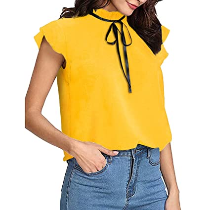 71b9261a803 Image Unavailable. Image not available for. Color: Pocciol Women's Casual  Short Cap Sleeve Bow Tie T-Shirt Solid Chiffon Blouse Tops
