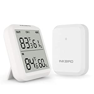 Inkbird ITH-20R Digital Hygrometer Indoor Outdoor Wireless Receiver Thermometer with Accurate Temperature Display for House Kitchen Baby Room Courtyard Brewhouse and Public Places Rainproof Function