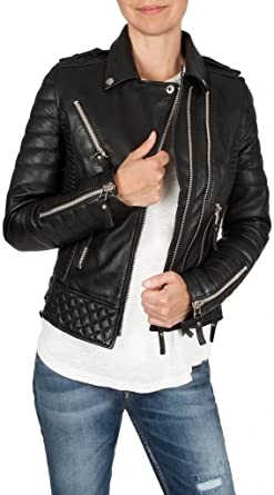 New Womens Motorcycle Genuine Sheep Leather Party Jacket LFW273
