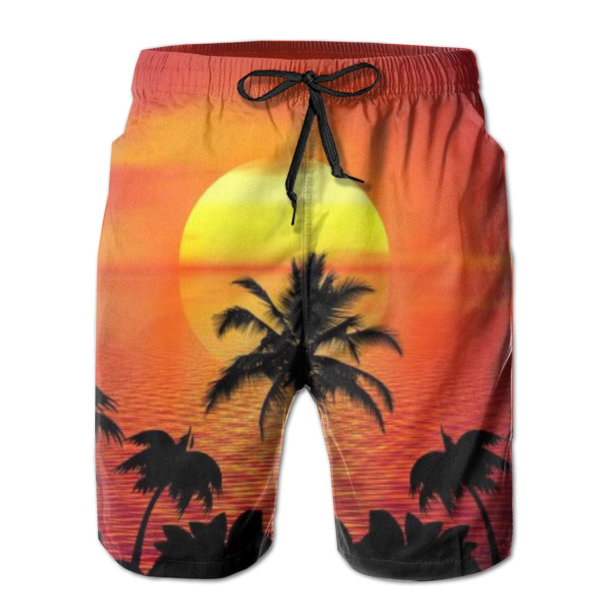 FASUWAVE Mens Swim Trunks Tropical Quick Dry Beach Board Shorts with Mesh Lining
