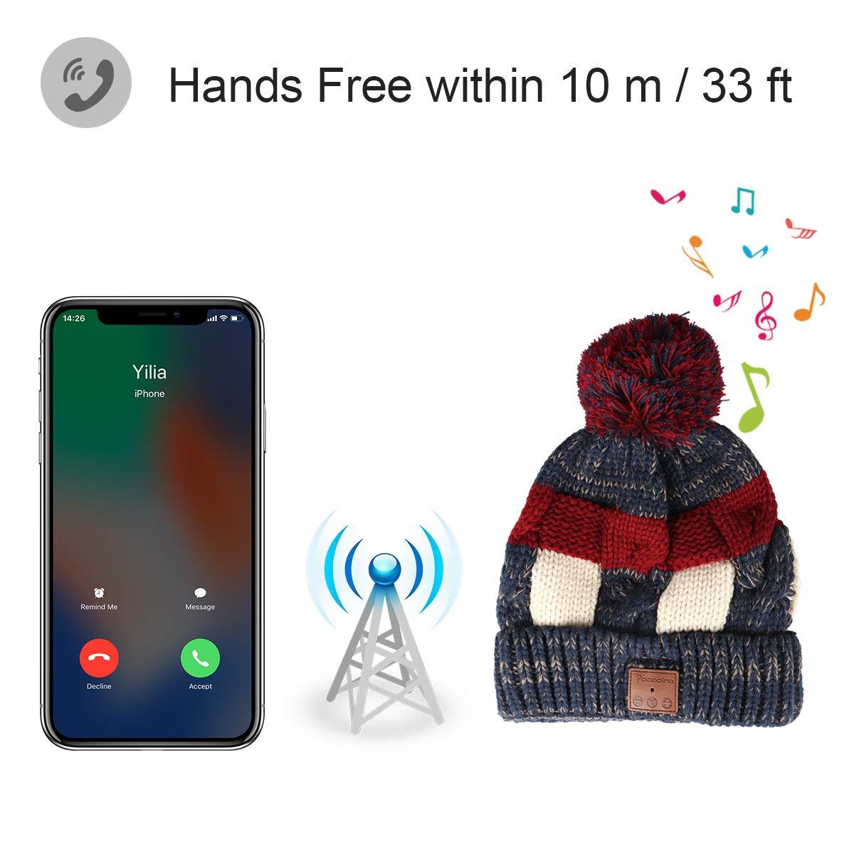 Tectri Bluetooth Beanie Winter Strickm/ütze mit Eingebauter Wireless Kopfh/örer Hand Frei Musik h/ören und telefonieren Unisex Hut f/ür Skateboardfahren Wanderung Reise