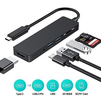 Rayrow USB C HUB, 6 en 1 Tipo HUB 3.1 C con Adaptador HDMI 4K, Entrega de energía y Transferencia de Fecha, 2 Puertos USB 3.0, Lector de Tarjetas ...