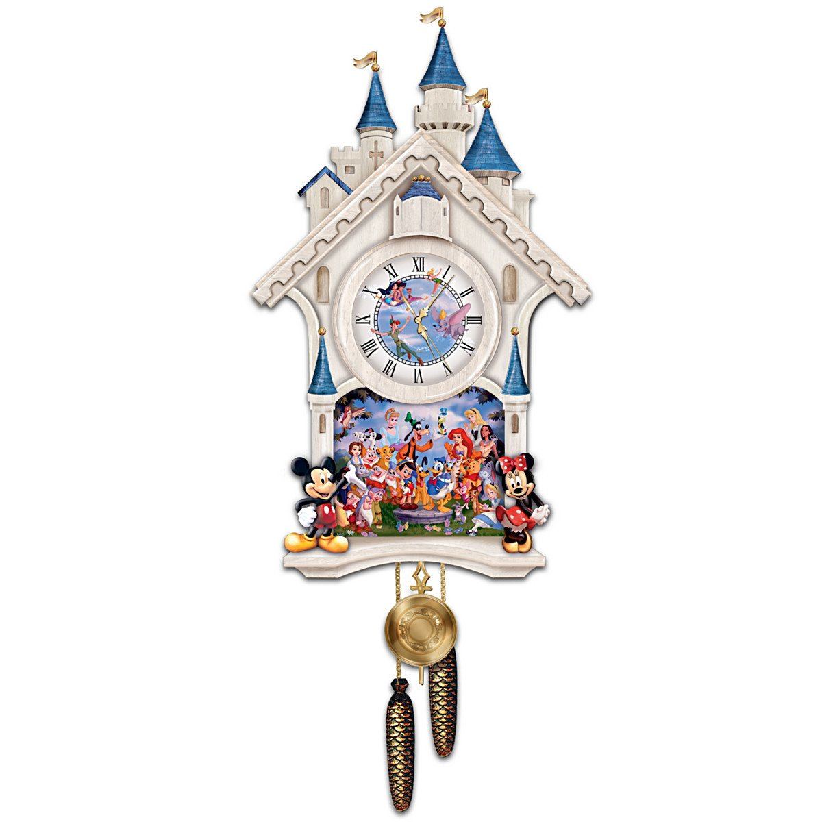 The Bradford Exchange - Disney Character Cuckoo Clock 'Happiest Of Times' - Inspired by Cinderella's Castle