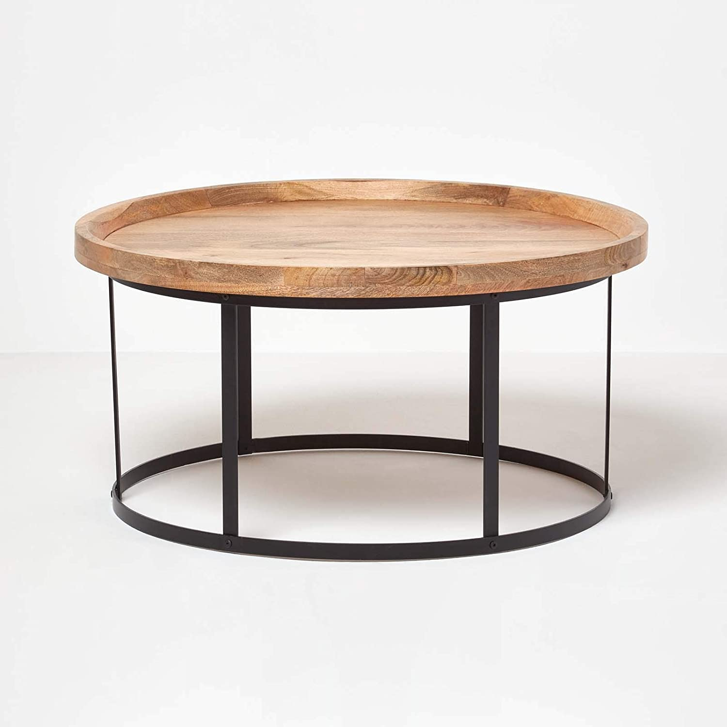 Homescapes Industrial Style Round Coffee Table With Steel Frame