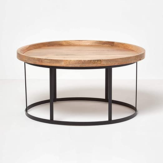 Homescapes Industrial Style Round Coffee Table With Steel Frame Support 100 Solid Oak Shade Mango Hardwood