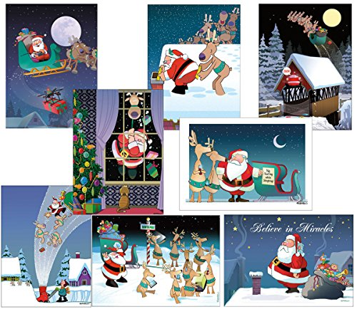 Box Set of 24 Assorted Funny Christmas Cards by Stonehouse Collection - 8 Designs, 3 Cards Per Design