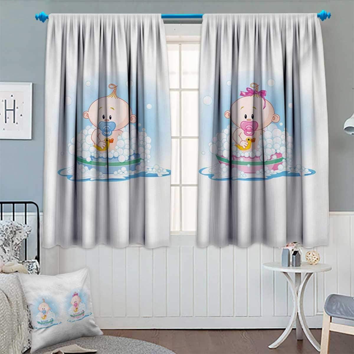 Anhounine - Cortina Opaca, diseño de Chico y Chica con chupetes de Conejo, Cortinas Personalizadas, Color Azul pálido y Rosa melocotón, 55 x 39 cm: Amazon.es: Juguetes y juegos