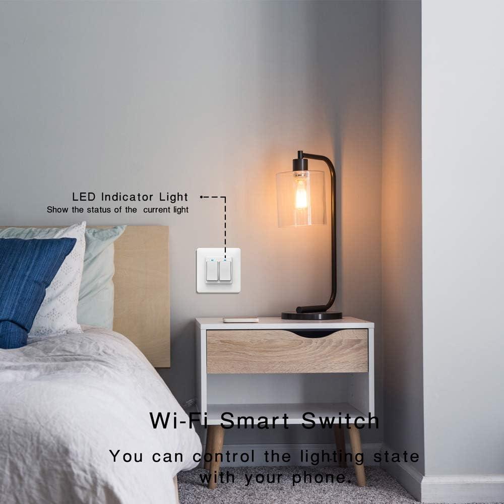 3 Gang TopHGC Interrupteur WiFi Smart Light T/él/écommande pour t/él/éphone Commande vocale Commande Tactile avec t/émoin Lumineux Compatible avec Alexa et Google Assistant
