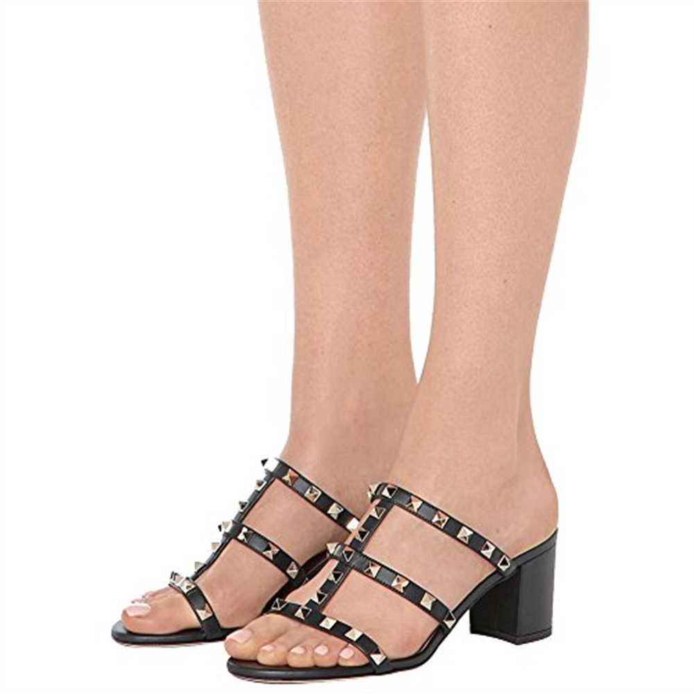 Chris-T Chunky Heels Studded for Womens Studded Heels Slipper Low Block Heel Sandals Open Toe Slide Studs Dress Pumps Sandals 5-13 B07DH7VQD7 10|Black/5 CM aebc1a