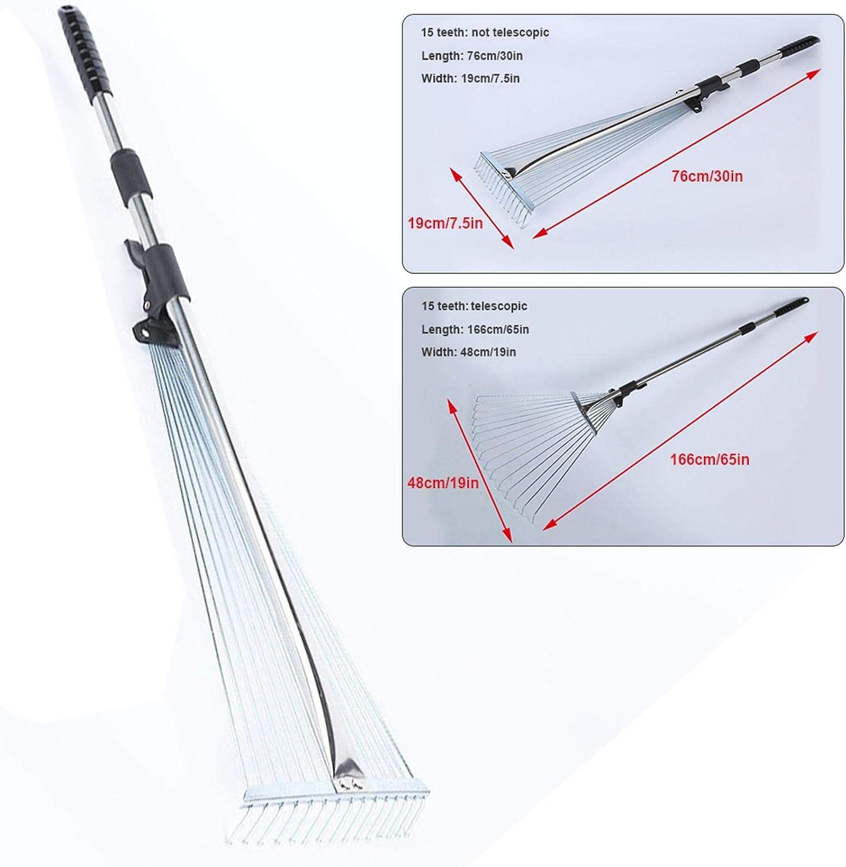 qianele 160CM Telescopic Metal Rake Adjustable Folding Leaves Rake for Quick Clean Up of Lawn and Yard Garden Leaf Rake Expanding Handle with Adjustable 20-58cm Folding Head