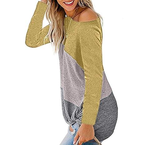 SMILEQ Costura a Rayas de Moda para Mujer Camiseta de Punto Fuera ...