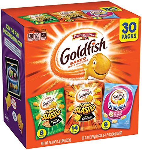 (Pepperidge Farm, Goldfish, Crackers, Bold Mix, 29.4 oz., Variety Pack Box, Snack Packs, 30-count)
