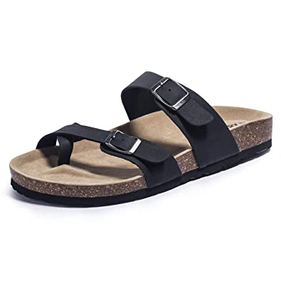 e234a1693c3b FITORY Womens Sandals Flat Toe Loop Cork Slides with Adjustable Strap  Buckle for Summer Size 6