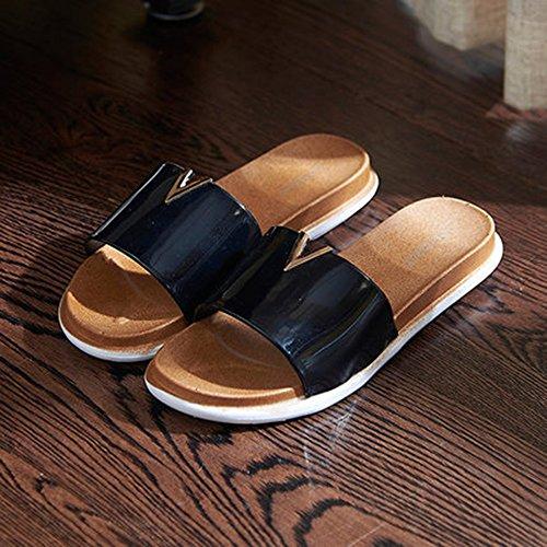 interior plástico A madera domésticas verano 2 de Zapatillas baño opcionales Zapatillas de hogar colores sandalias Suelo el de fondo de para tamaño para femenino baño Cómodo de resbaladizas de suave RvqCa
