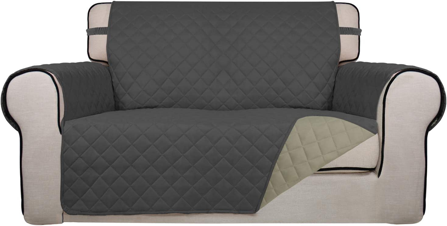 PureFit Reversible Quilted Sofa Cover, Water Resistant Slipcover Furniture Protector, Washable Couch Cover with Non Slip Foam and Elastic Straps for Kids, Dogs, Pets (Loveseat, Dark Gray/Beige)