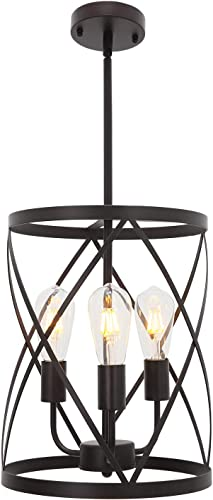 ELUZE 3-Light Farmhouses Chandelier ,Vintage Pendant Lighting Oil Rubbed Bronze Finish