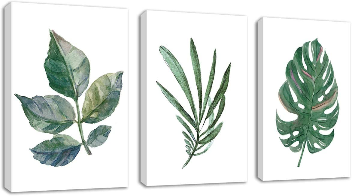 """Canvas Wall Art Green Leaf Simple Life Painting 16"""" x 24"""" x 3 Pieces Framed Canvas Pictures Watercolor Prints Contemporary Canvas Artwork Ready to Hang for Home Decoration Kitchen Office Wall Decor"""