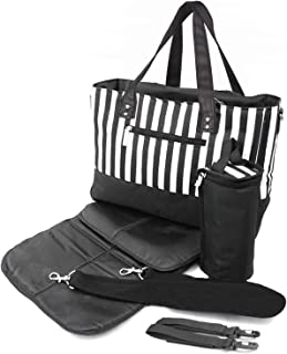 Baby Changing Bag Large Nappy Diaper Tote 5 PCS - Black White