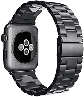 Black Stainless Steel Metal Band For Apple Watch 44mm And 42mm