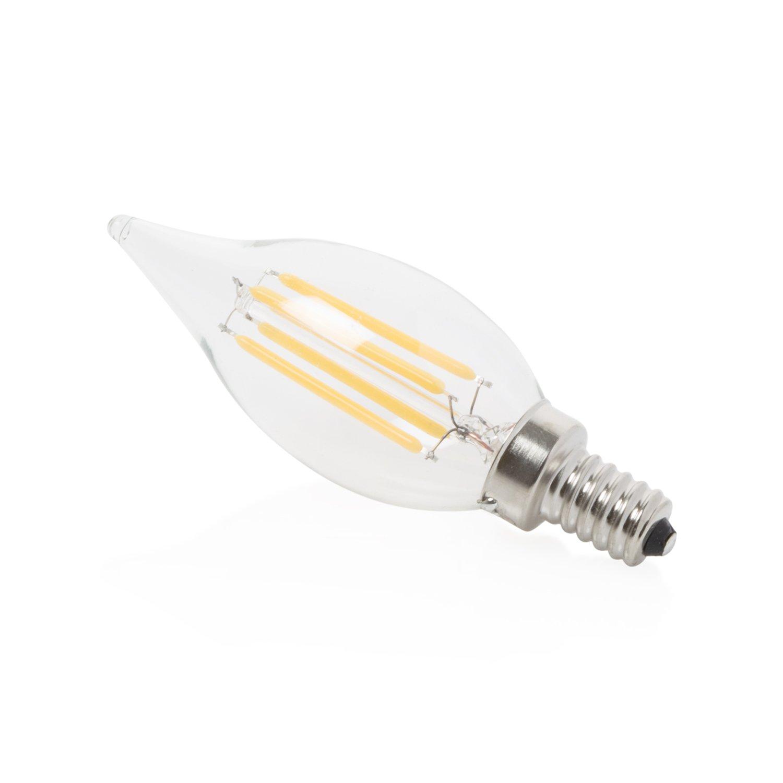 4w = 40w Incandescent Soft White Light LED Candelabra Bulb by Lumin Brite Vintage Edison Light Bulb Dimmable Filament 2700k 430 Lumens E12 Energy Saving 360 Degree Beam Clear Glass Flame Tip Luminco Group 3pk