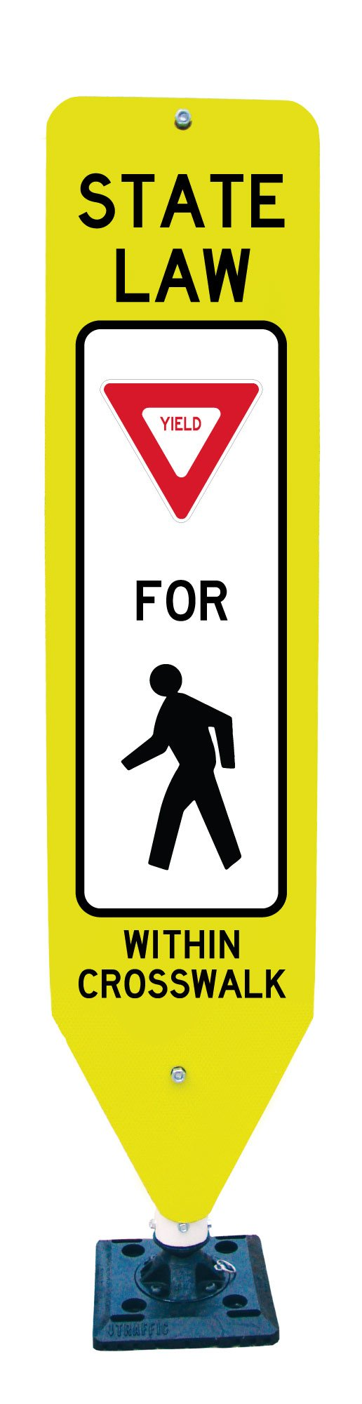 State Law YIELD Crosswalk Sign and Base