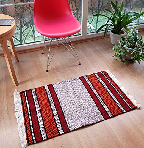Secret Sea Collection, Retro Mosaic Pattern Colorful Area Rug, Cotton, Washable, (2
