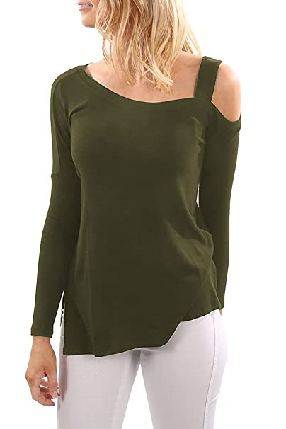 e8708e34dcb7a0 Womens Cold Shoulder One Strappy Tops Side Slit T Shirt Plain Long Sleeve  Slim Fit Casual