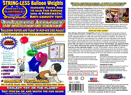 (Fantastic Floatables Award Winning Anti-Gravity STRING-LESS MYLAR HELIUM BALLOON Zero-G Neutral Buoyancy Hovering Height Control Weights. Absolutely > No Strings Attached- 2)