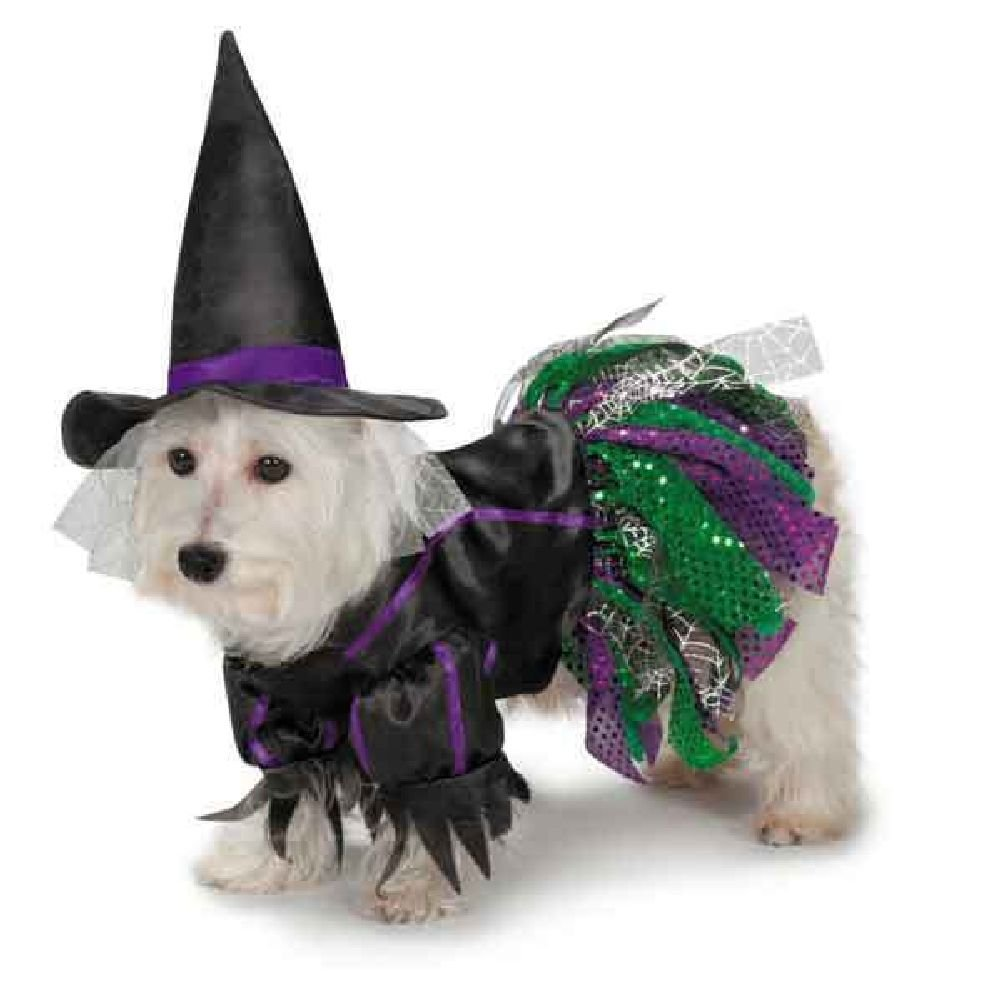 Scary Witch Dog Halloween Costume Spiderweb Tulle Skirt Green Purple Satin Hat