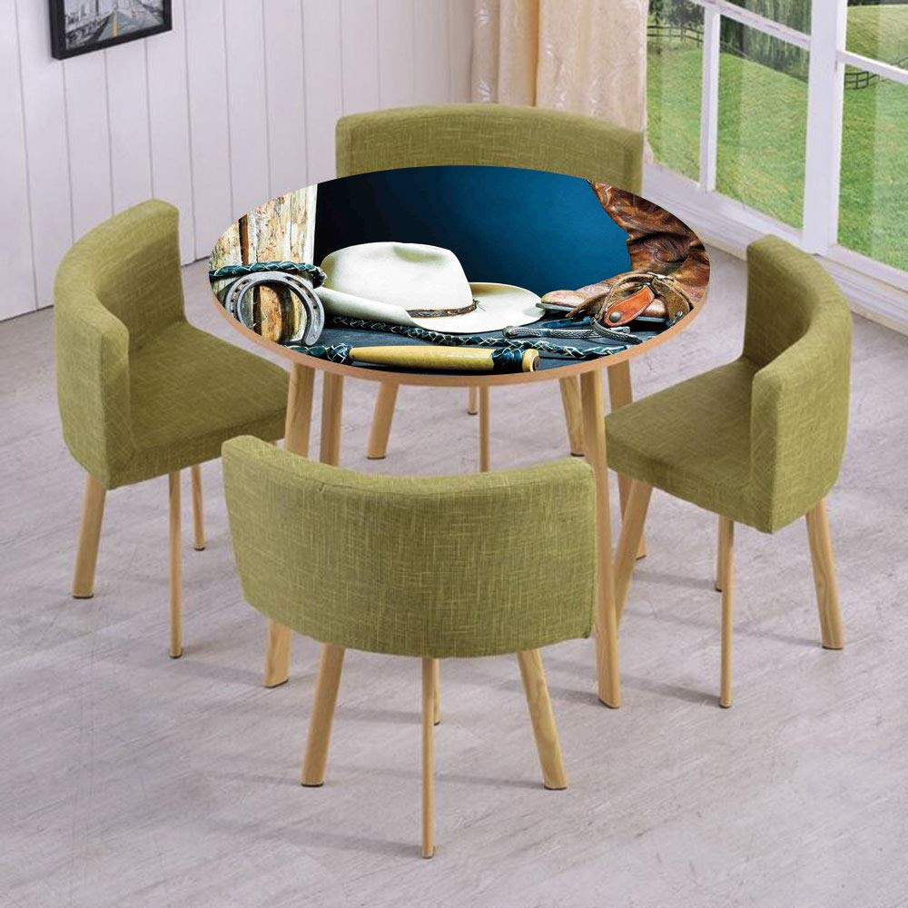 iPrint Round Table/Wall/Floor Decal Strikers/Removable/Equestrian Backdrop with Antique Horseshoe Hat Cowboy Texas Style/for Living Room/Kitchens/Office Decoration