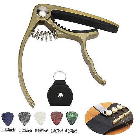 Hidear H-27 Capo - Cejilla para guitarra acústica y eléctrica, color negro
