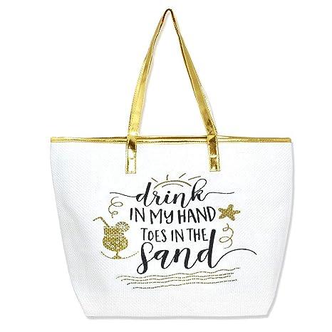 2388017d90 Amazon.com  Auliné Collection Womens Metallic Top Handle Woven Travel  Zipper Beach Tote Bag - DIMH Gold  Keebon International