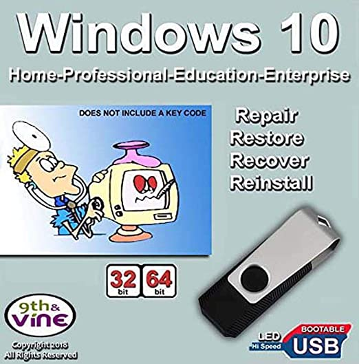 9th and Vine Compatible Windows 10 Home, Professional, Education,  Enterprise 32/64 Bit USB Flash Drive  Install To Factory Fresh, Recover,  Repair and