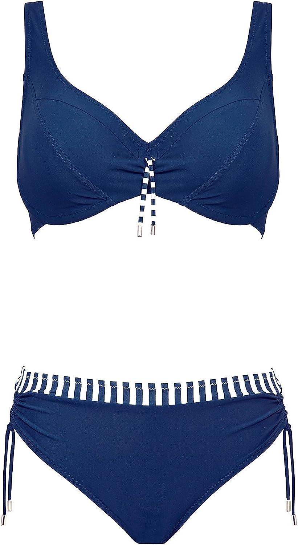 Lidea Badeanzug Blau-Weiss-Grau Größe  38 C 42 C Cup NEU