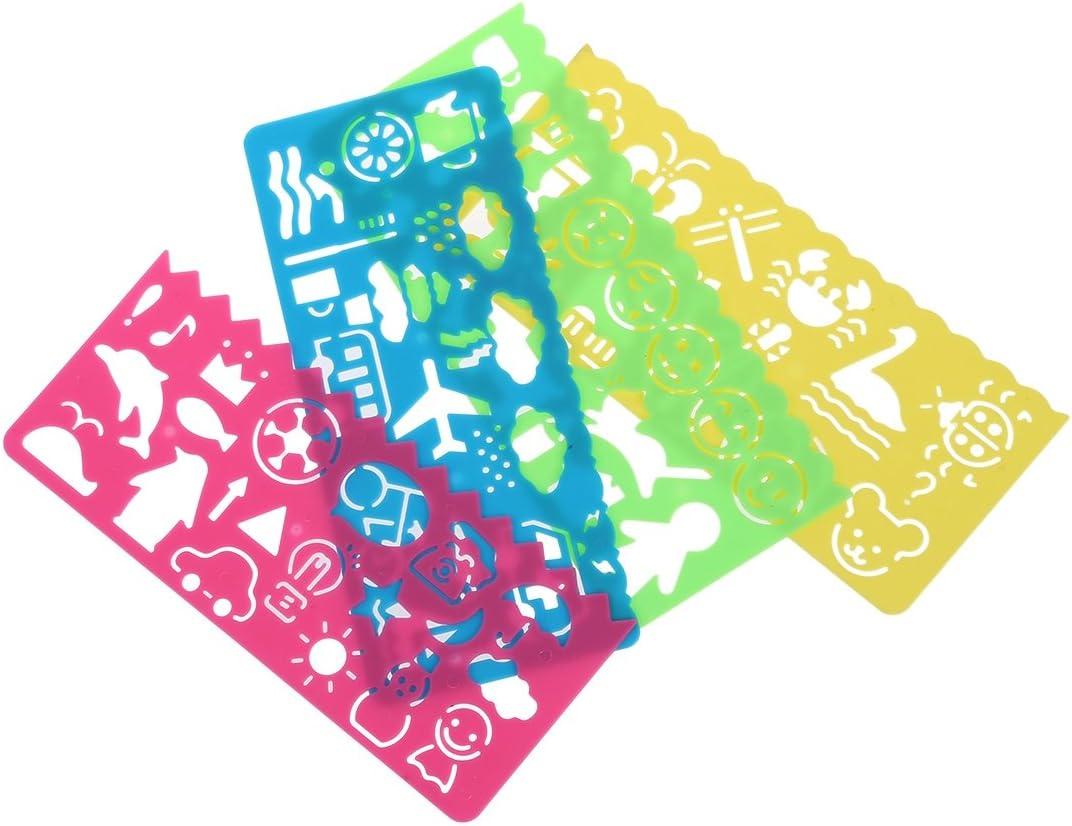 4 pzs Regla de dibujo de plantillas de plastica para Estudiantes Ninos M9 JKO 1X