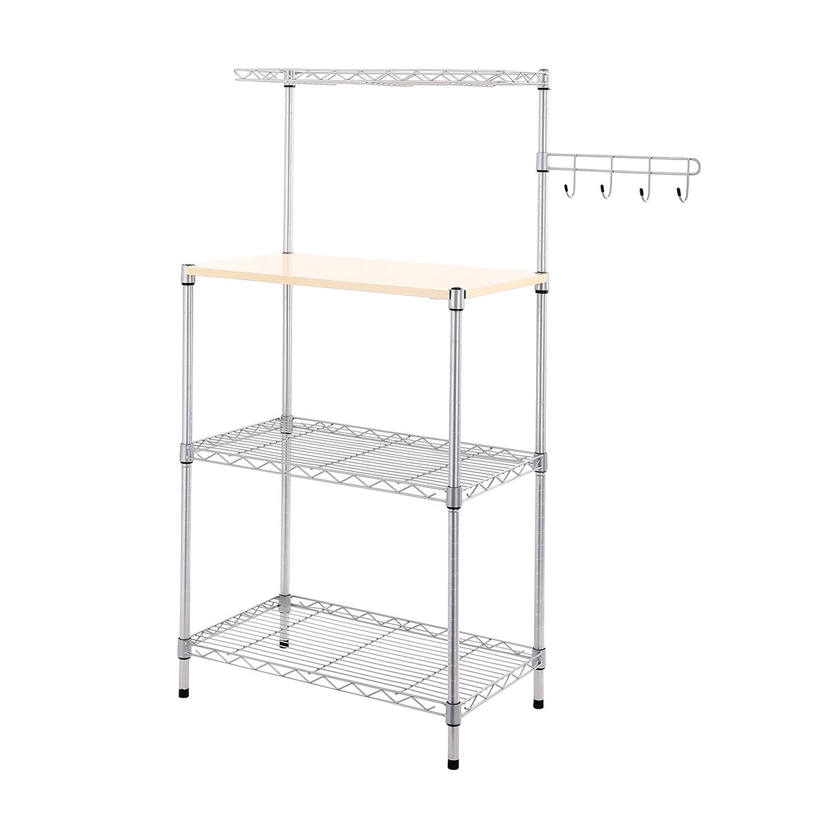 BuyHive Bakers Rack 4-Shelf Home Dining Microwave Stand Kitchen Island Organizer Workstation