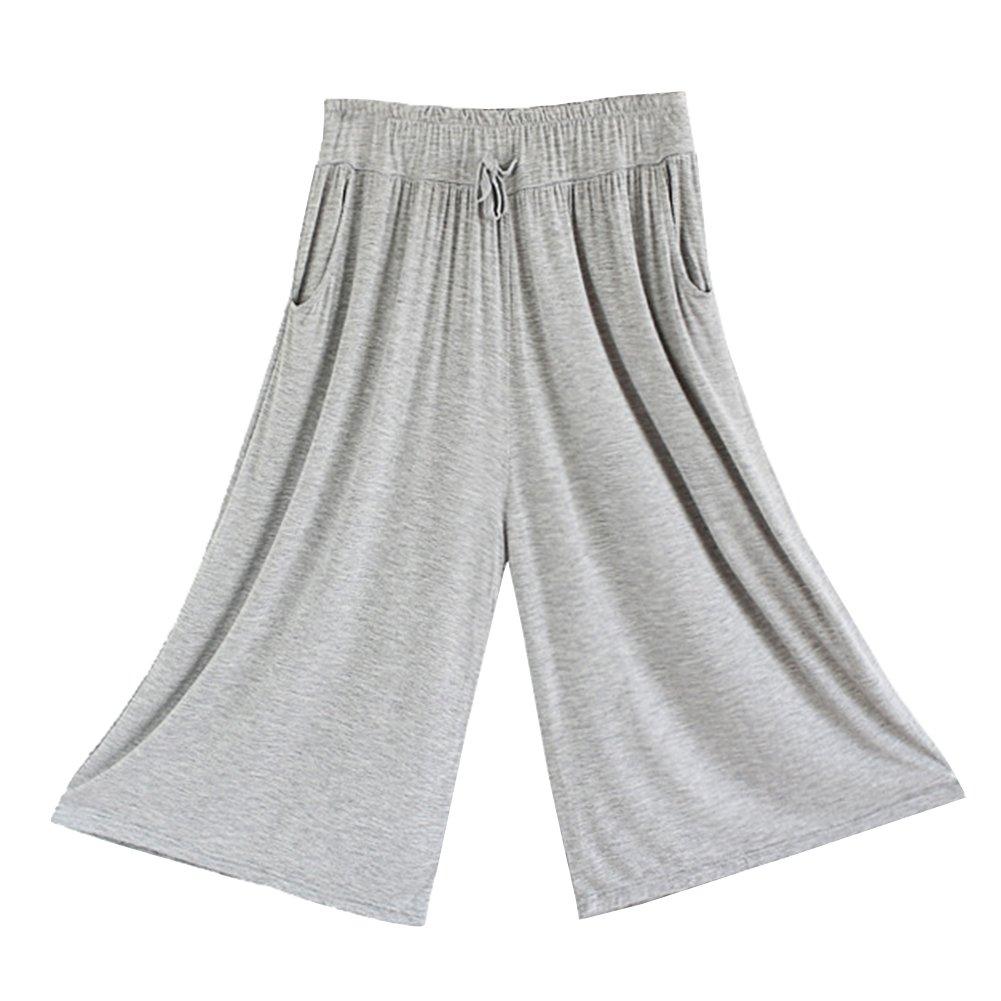 Pantalones Anchos Casuales Elegantes Yoga Jogging Deporte Fitness Cintura Elástica Con Bolsillos Par...