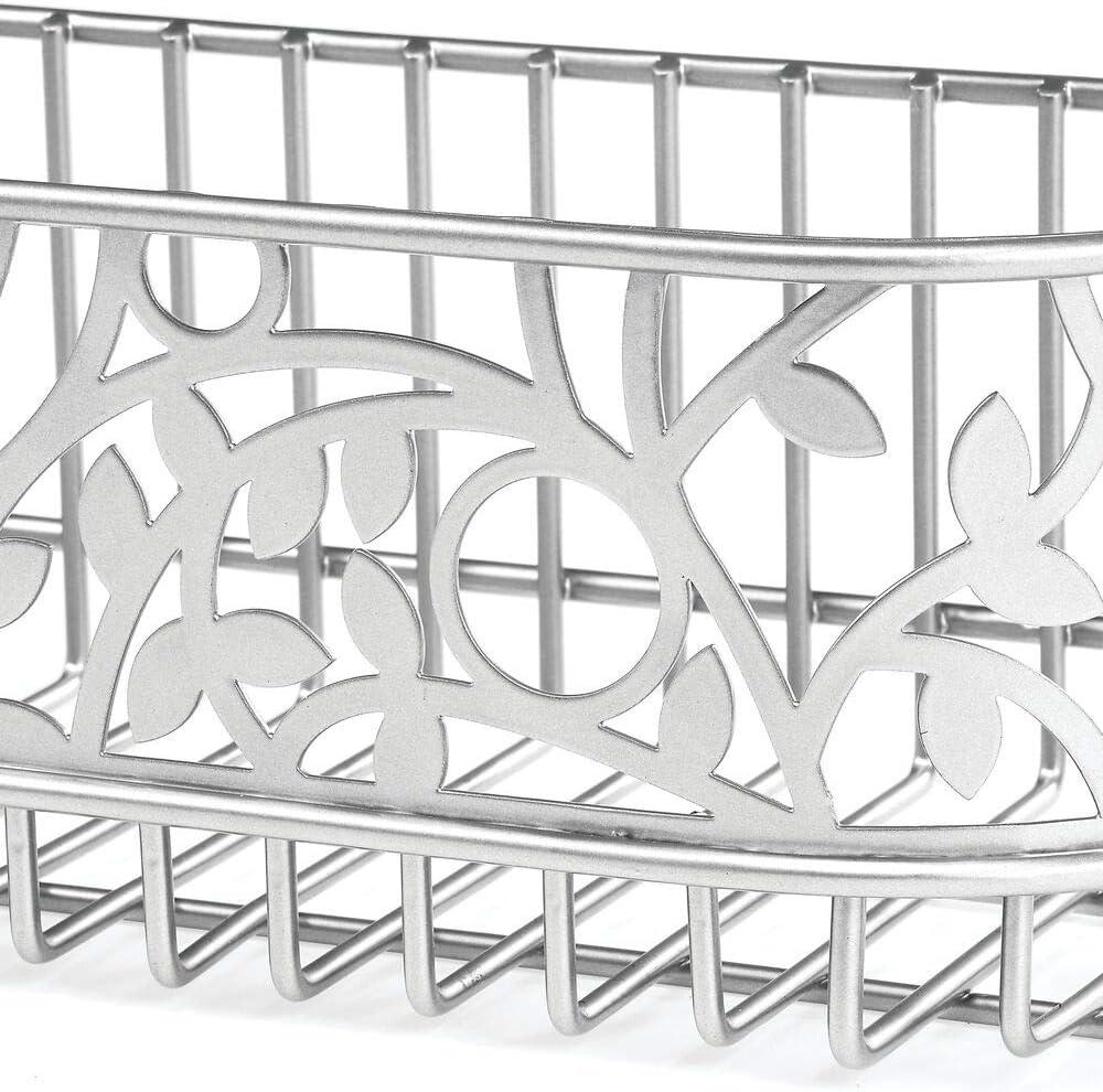 Porta asciugacapelli a muro con scomparti e un ripiano argento opaco Capiente porta piastra in metallo perfetto per il bagno mDesign Portaphon da montare alla parete