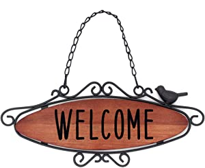 Rustic Wooden Welcome Sign Hanging Wood Farmhouse Porch Decorations for Front Door 12.2×5.1 in