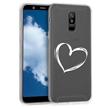 kwmobile Funda para Samsung Galaxy A6+/A6 Plus (2018) - Carcasa de [TPU] para móvil y diseño Dibujo de corazón en [Blanco/Transparente]
