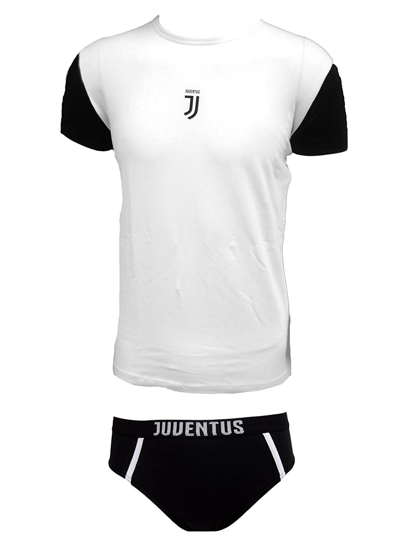 coordinato ragazzo slip + t-shirt girocollo cotone elasticizzato JUVENTUS prodotto ufficiale juve art. JU12056 (12 anni, bianco) 11056